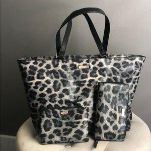 Kate ♠️ Spade 3 pc. Black/Grey leopard purse set